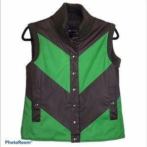 Me Jane. Brown and green chevron quilted vest. S